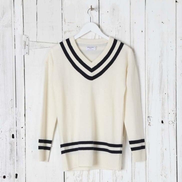 FRAME DENIM Varsity V-Neck Sweater
