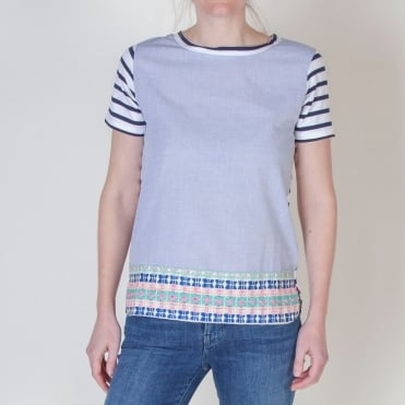Capri Stripe Detail Top in Blue