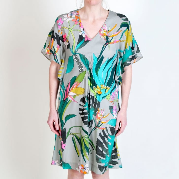 VILAGALLO Charlie Orchid Print Tunic Dress in Taupe