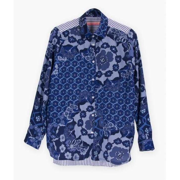 VILAGALLO Dover Floral Shirt in Blue