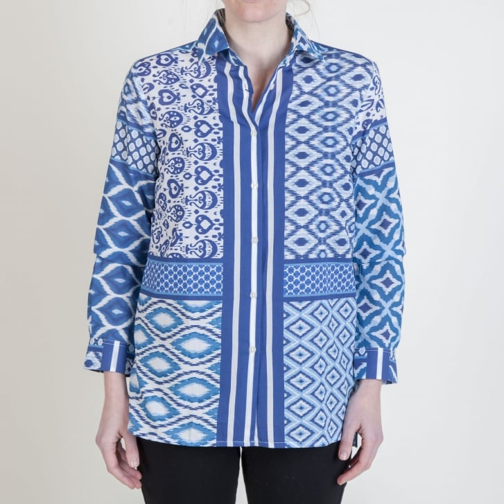 VILAGALLO Dover Ikat Print Cotton Shirt in Blue