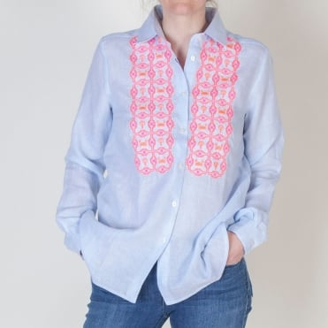 Dover Irish Blue Stripe Shirt with Embroidery