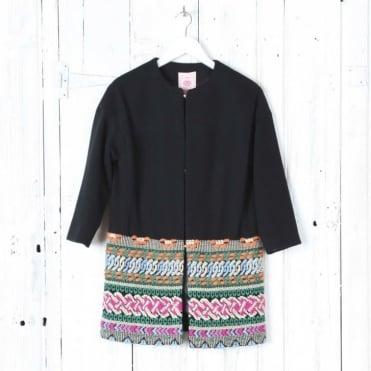 Drop Shoulder Embroidered Coat