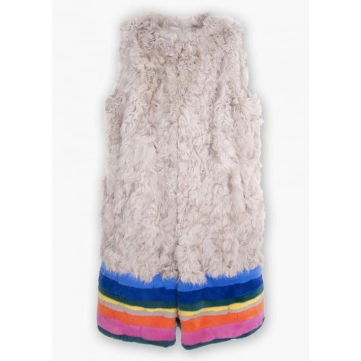 VILAGALLO Fur Striped Gilet in Multi