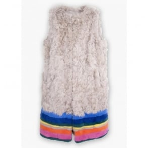 Fur Striped Gilet in Multi