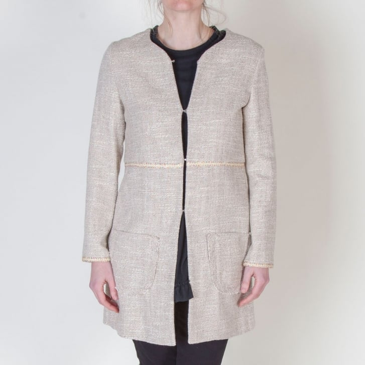 VILAGALLO Milly Textured Linen Relaxed Jacket in Camel
