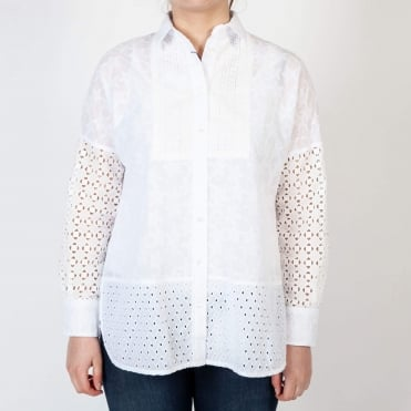 Mirella Star Embroidered Shirt in White