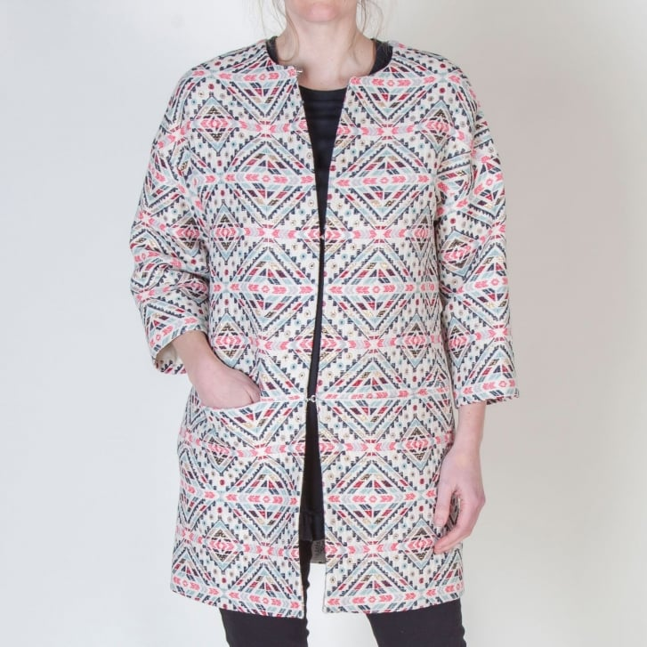 VILAGALLO Sarah Batch Jacquard Dress Coat in Multi