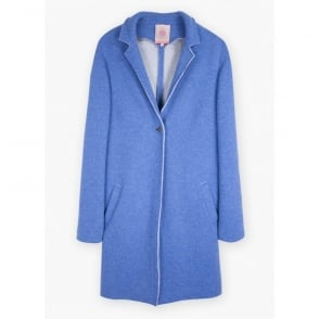 Victoria Boiled Wool Coatigan in Fiorentina Blue