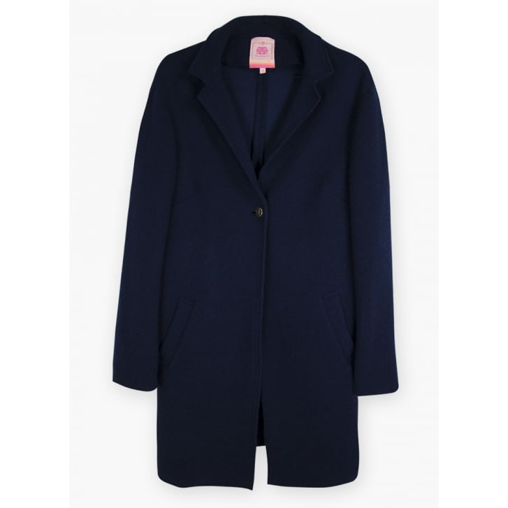 VILAGALLO Victoria Boiled Wool Coatigan in Navy