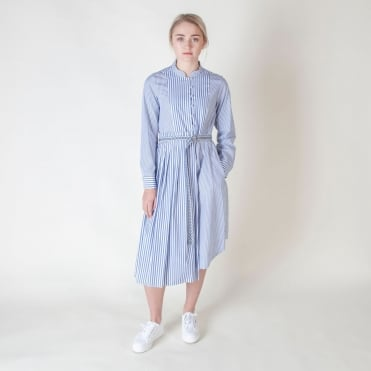 Aerovia Stripe Cotton Shirt Dress in Ultramarine