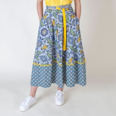 Albert Cotton Poplin Print Skirt in Avio