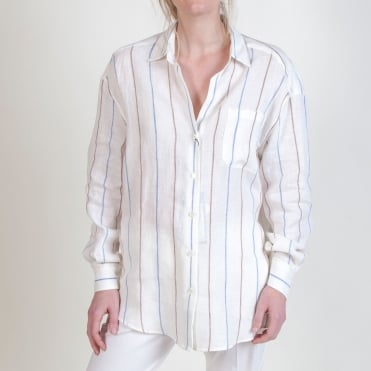Cambio Linen Fine Stripe Shirt in Light Blue