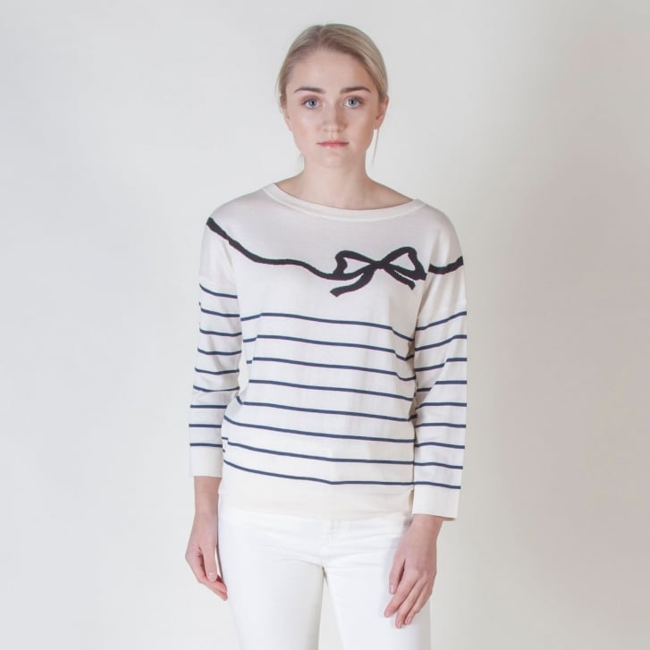 WEEKEND MAXMARA Curzio Silk and Cotton Bow Knit in White