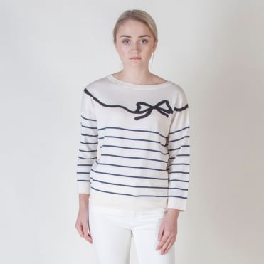 Curzio Silk and Cotton Bow Knit in White