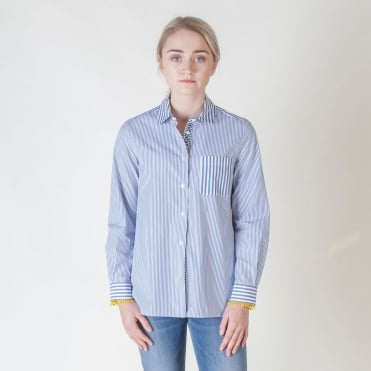 Gestro Cotton Poplin Shirt in Ultramarine