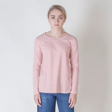 Gradi Long Sleeve Stripe Top in Red
