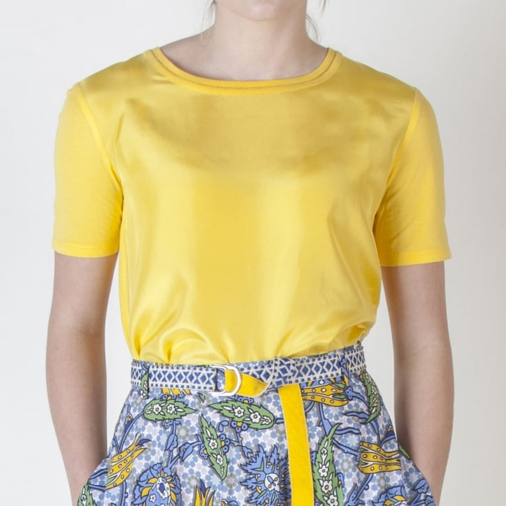 WEEKEND MAXMARA Holly Silk Front T Shirt in Yellow