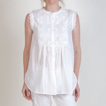 Nadia Linen Sleeveless Shirt in White