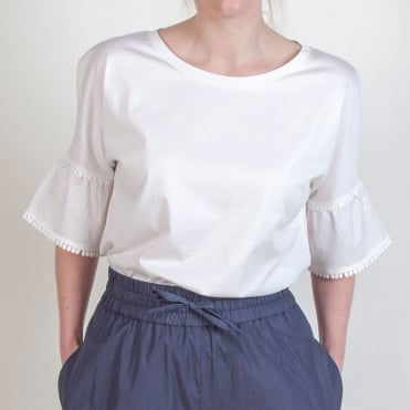 Nerone Sleeve Detail Top in White
