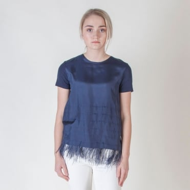 Sella Silk T Shirt with Feather Trim in Ultramarine