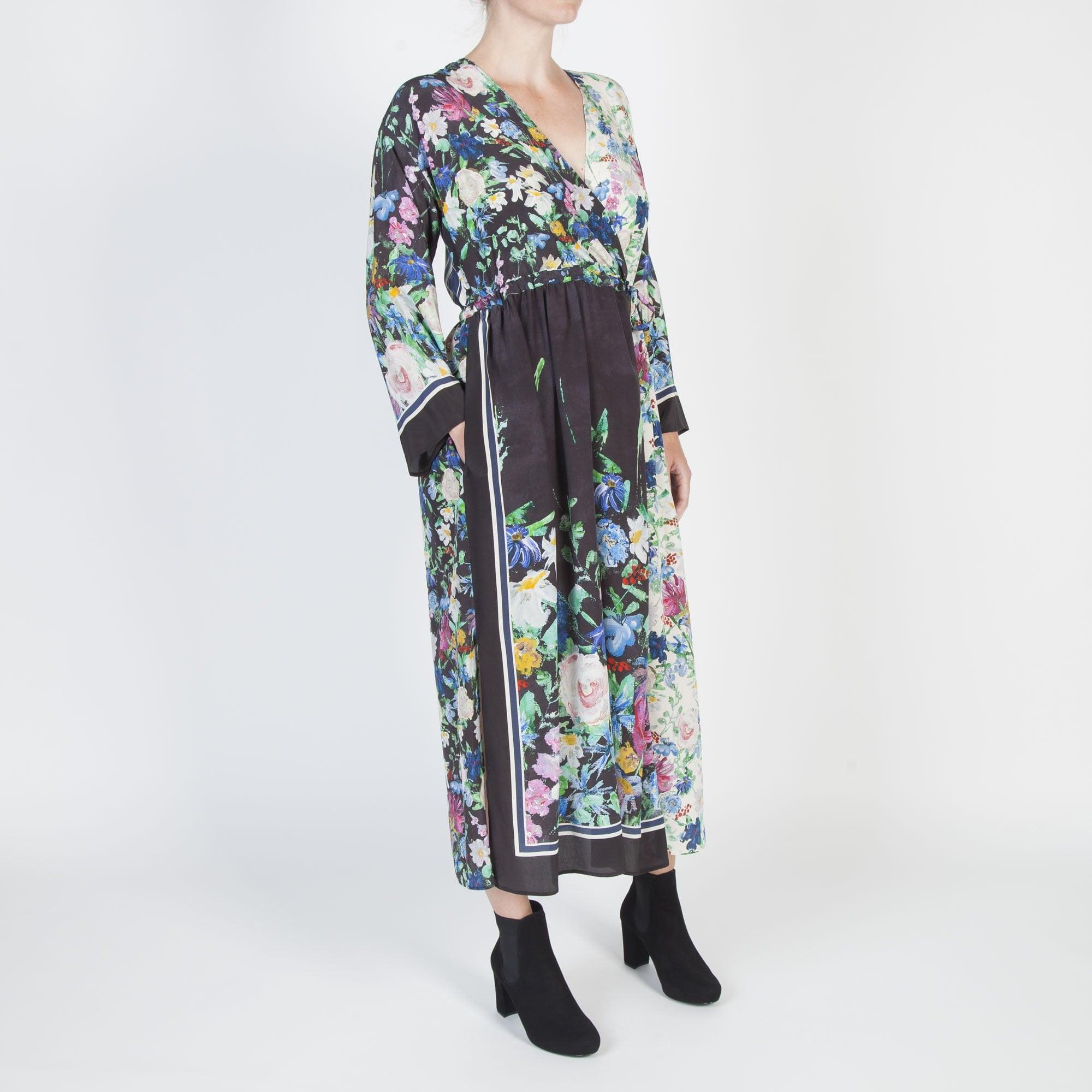 c0d89231866 S Max Mara Smalto Silk Floral Dress in Black Multi