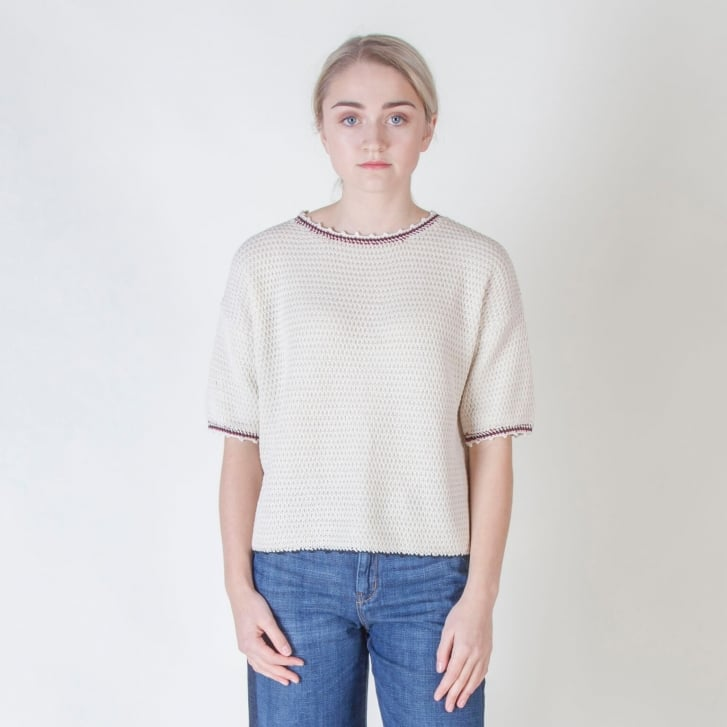 WEEKEND MAXMARA Tabacco Waffle Cotton Knit in White