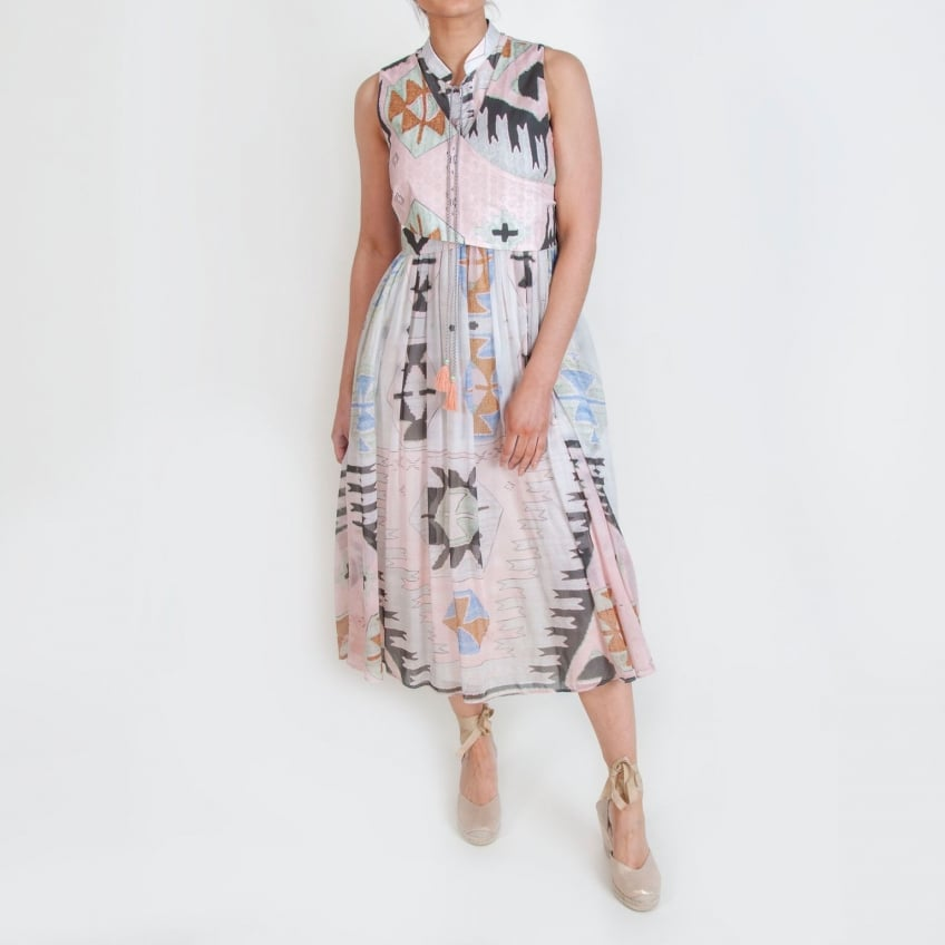 WEEKEND MAXMARA Umbro Aztec Print Summer Dress in Pink