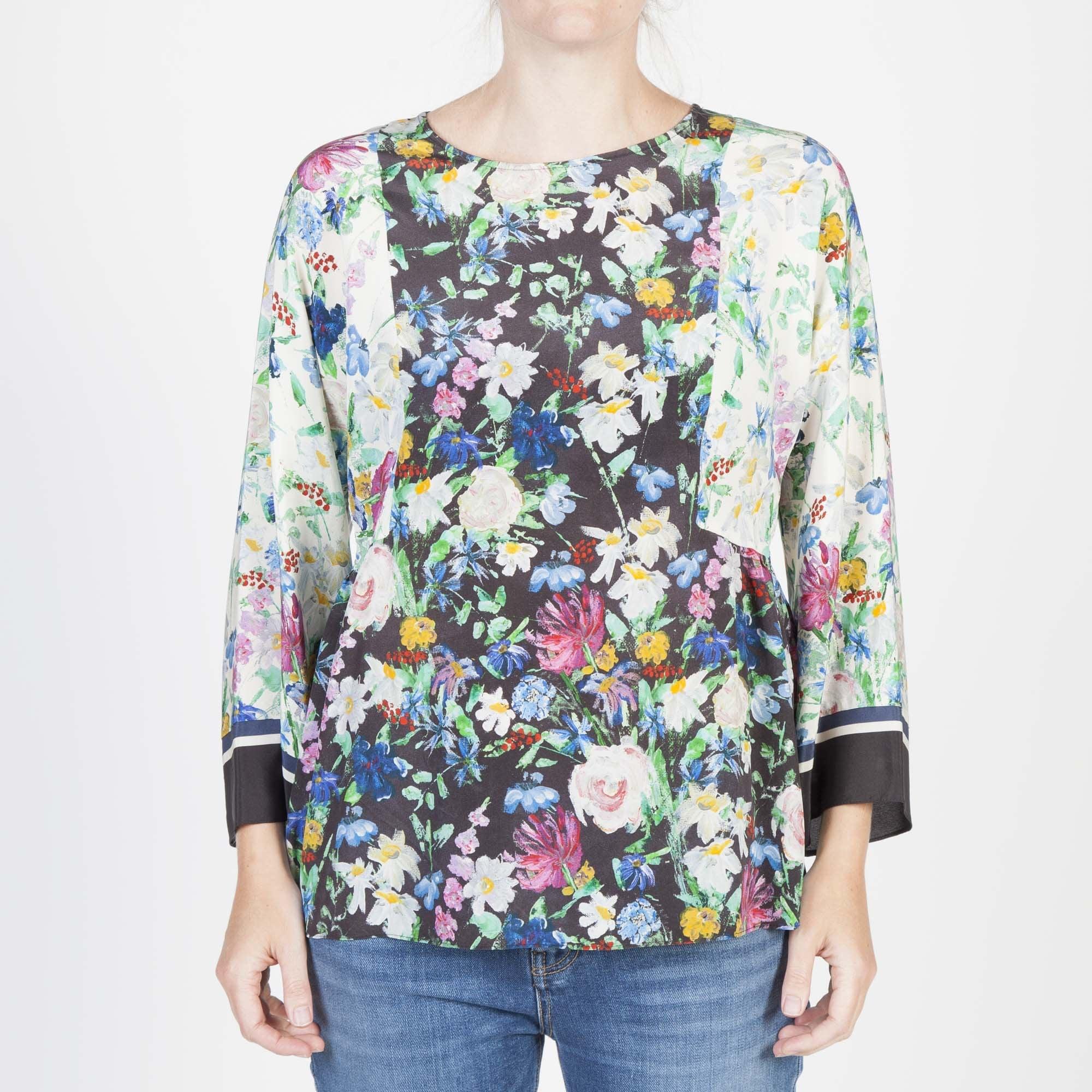 e6082d63b30 WEEKEND MAXMARA Verbas Silk Floral Print Top in Black Multi