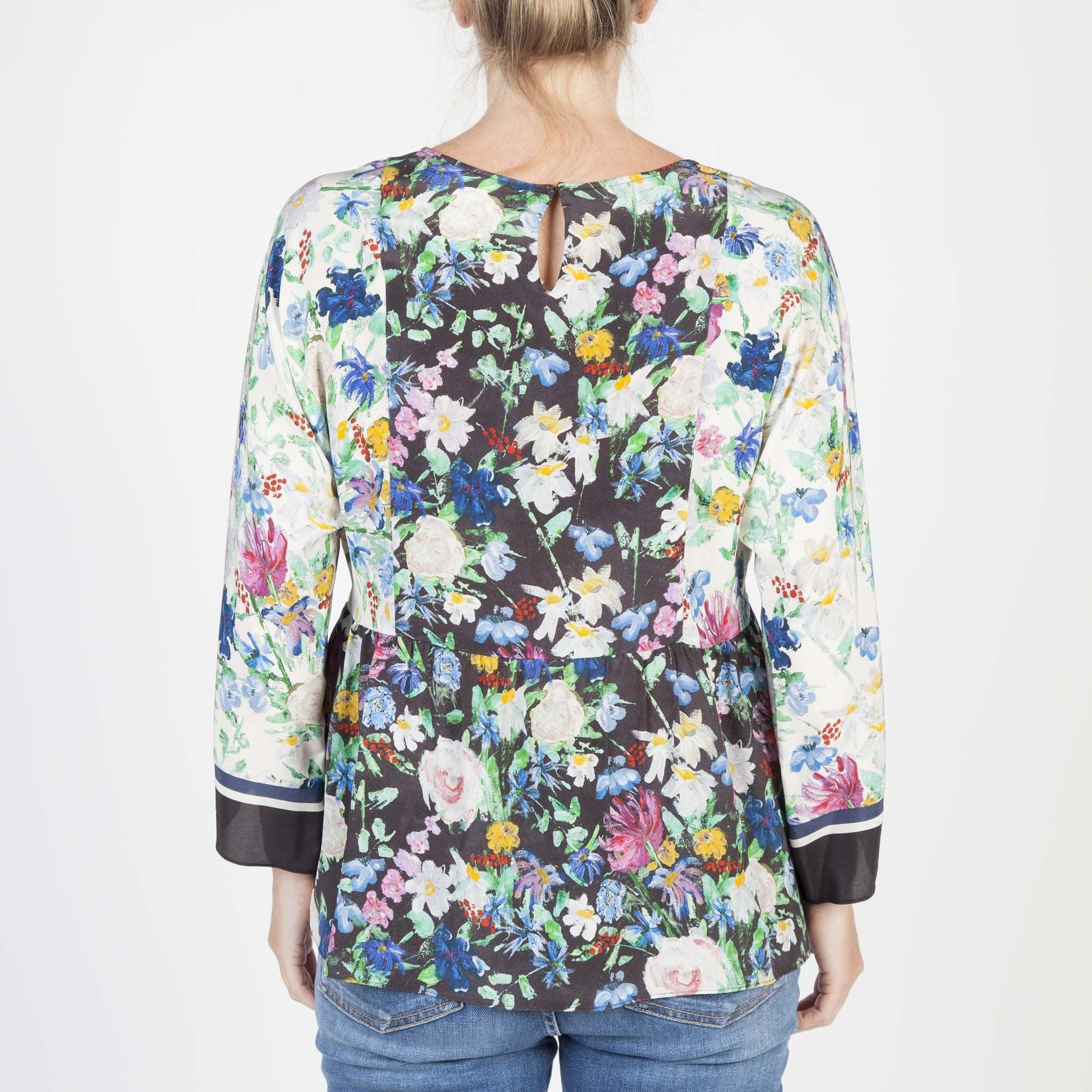 a789fa53fd9 Verbas Silk Floral Print Top in Black Multi