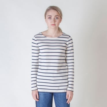 Virtus Cotton Jersey Stripe Top in Ultramarine