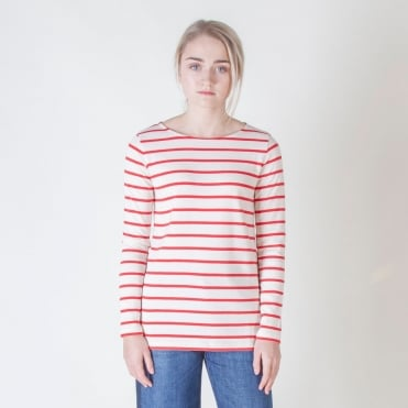 Virtus Long Sleeve Stripe T Shirt in Red