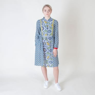Vite Silk Print Dress in Navy