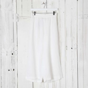 Wide Leg Cropped Linen Trousers