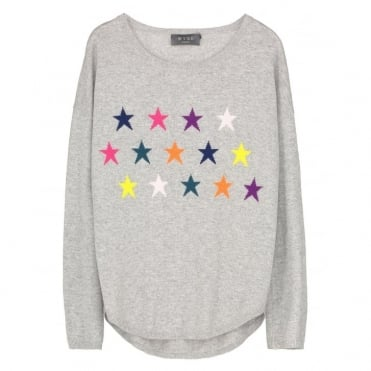 Clare Rainbow Star Jumper in Grey
