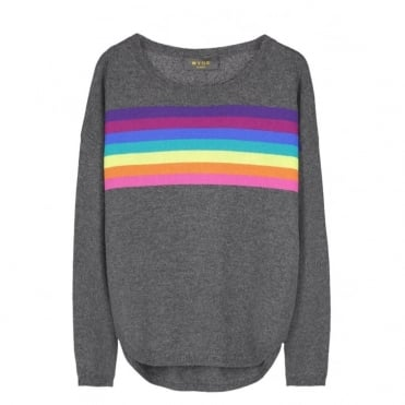 Ines Rainbow Slouchy Jumper in Charcoal